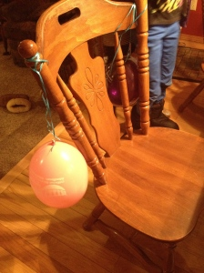The Birthday Chair that my girlpies made for me (they kept their balloons though)